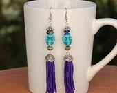 Skull Earrings Turquoise Tassel Beads Purple