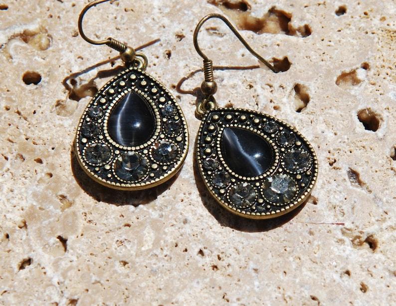 Tear Drop Earrings Rhinestone Cabochon Antiqued Gold
