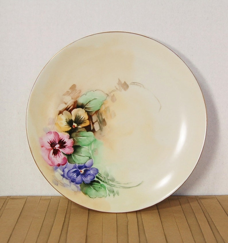 Noritake Nippon Hand Painted Pansy Plate Circa 1911 antique