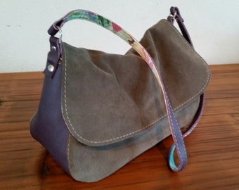"Shoulder Purse. Grey Suede and Purple Leather. Hand made with ""Aloha"" in Hawaii."