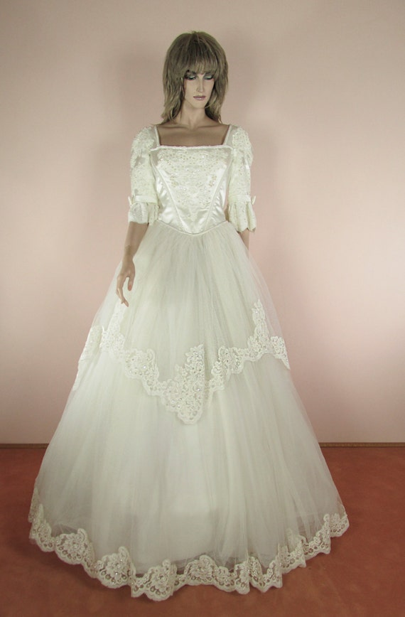Romantic Wedding Dress 80s Ball gown Cinderella style   Etsy