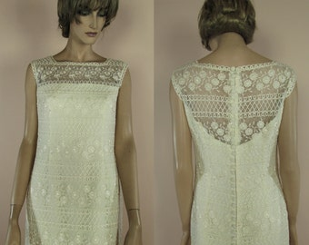 80's Macramè Lace Wedding Dress-Tube wedding vintage dress 80s