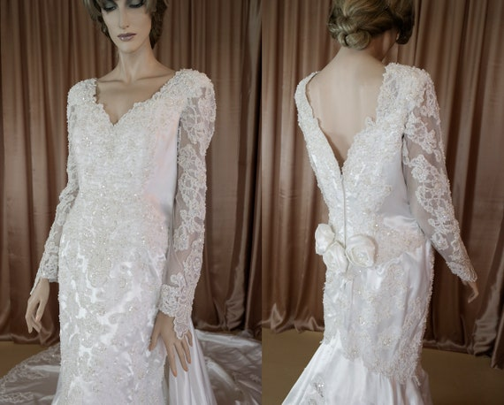 White Wedding Dress 80s Vintage bridal