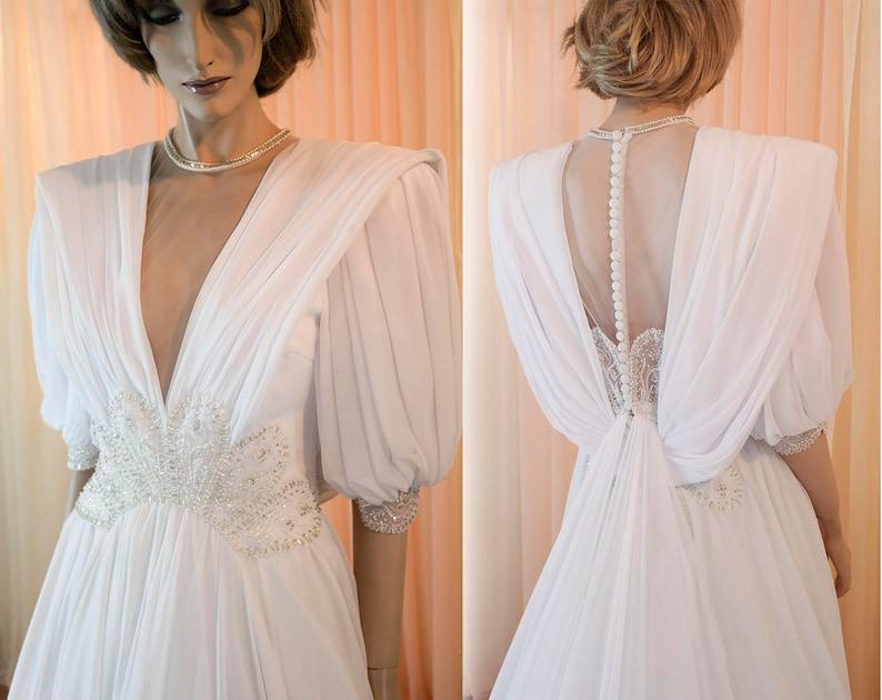 De Los Años Vestido Blanco 80 Elegante VintageEtsy Novia 0OknP8w