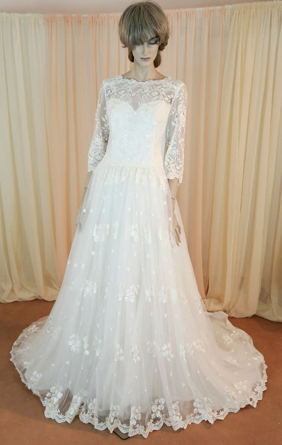 Vintage Wedding Dress 90 S Bridal Gown From 1990s Tulle Etsy