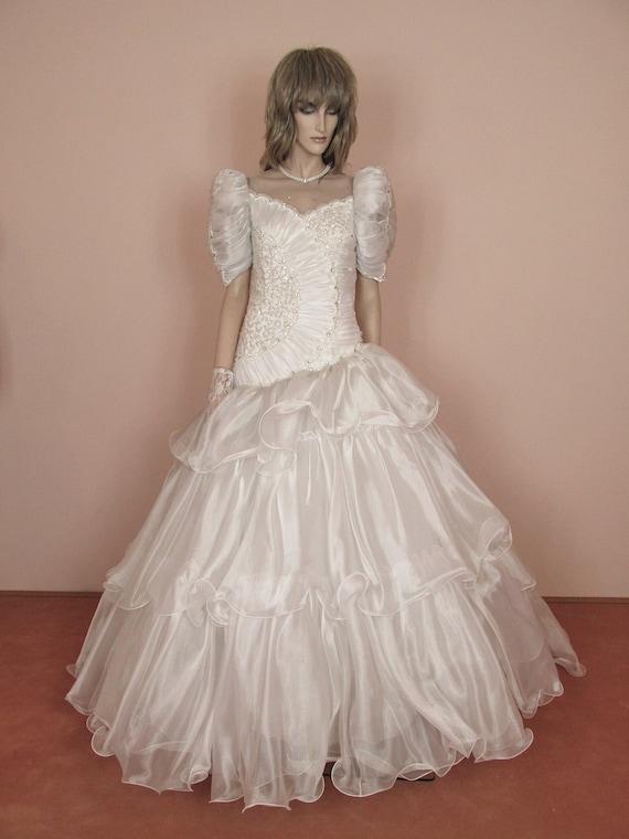 Weisse Hochzeitskleid 80er Jahre Brautkleid Vintage 80er Etsy