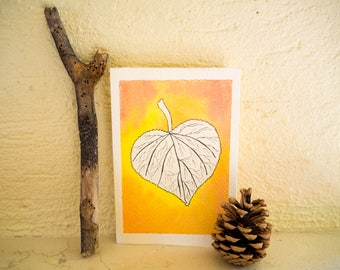 Red and yellow leaf greeting card