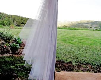 Two tier veil.  Cut edge veil. Raw edge wedding veil. 2 tier wedding veil. Plain edge veil