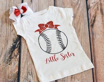 Little Sister Baseball / Softball / T-ball Outfit - Bodysuit or Shirt - Customize Colors Available - Optional Bow - Baseball Team Sister