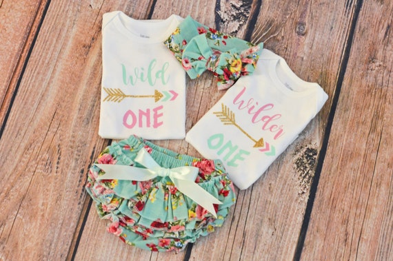ef152faefb Twin Girls Birthday Outfit Wild One Birthday Wilder One
