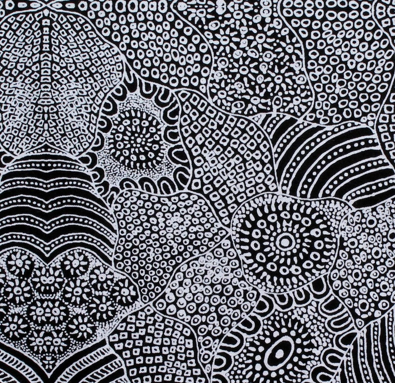 by FQ or METRES AUSTRALIAN ABORIGINAL QUILTING FABRIC PLUM SEEDS BLACK