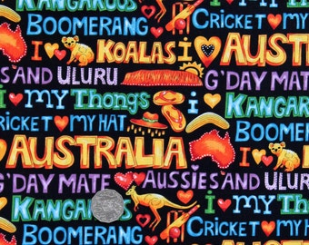 Australian Themed Quilting Fabric - AUSTRALIAN ICONS - sold by 1/4 metre or Fat Quarter