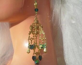 Chandelier Earrings Swarovski crystal baroque Green