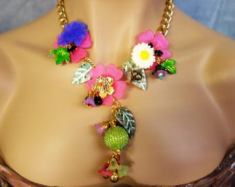 necklace of flowers and a bee pollen