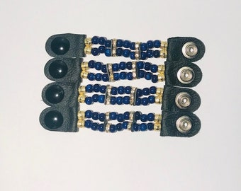 """SKU #504 Size 24 Snap: Set of 4 Handcrafted Blue/Gold Beaded Vest Extenders = 4"""" Length (Snap to Snap)"""
