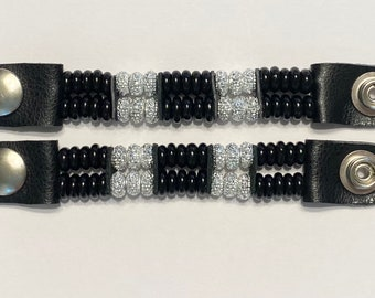 "SKU# 306 Set of 4 Black Discs W/Shiny Silver Beaded Vest Extenders: 4 3/4"" Snap to Snap"