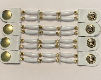 """SKU# 305 Set of 4 Thin White Beads/Gold Beaded Vest Extenders: 5"""" Snap to Snap"""