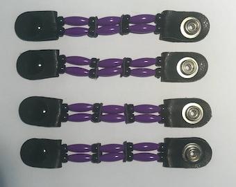"SKU# 125 Set of 4 Thin Purple Beads/Black Beaded Vest Extenders: 4"" Snap to Snap"