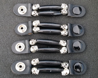 "SKU #255 Set of 4 Silver Skull/Black Beaded Vest Extenders = 3 1/4"" Length (Snap to Snap)"