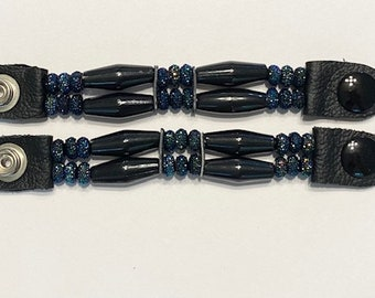 "SKU# 428 Set of 4 Short Black Faux Bone W/Shiny Blue Beads Vest Extenders: 5"" Snap to Snap"