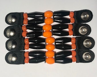 "SKU # 276 Size 24 Snap - Set of 4 Faux Black Bone/Orange Oval Beaded Vest Extenders: 4 1/2"" Snap to Snap"