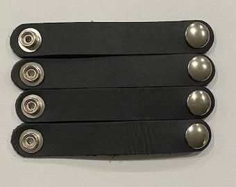 "SKU #292 Size 24 Snap: Set of 4 Black Leather Vest Extenders = 3 1/2"" Length (Snap to Snap) Silver Snaps"