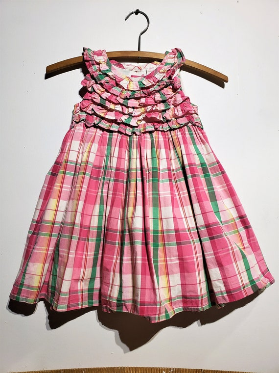 fully lined Pink plaid Oshkosh sleeveless vintage dress Free Ship all 100/% comfortable cott very decrotive ruffle front and collarline