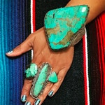 Huge old pawn vintage turquoise and sterling silver ring