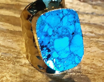 Turquoise statement Ring Adjustable Gold Band