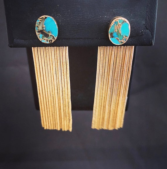 Turquoise stud with gold  chain ear jacket