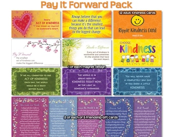 Pay It Forward Kindness Pack - Kindness Quotes Fridge Magnets, Gift Tags, Positive Thinking, Motivational Quotes, Love Cards