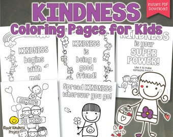 Printable Kindness Coloring Pages   Distance Learning Worksheets or Art Projects for Kids