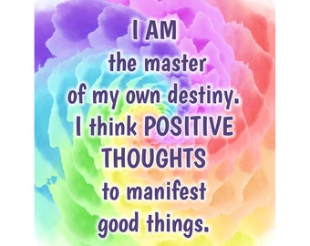 CLEARANCE - Large Fridge Magnet - I am the master of my own destiny - Inspirational Quotes - Motivational Quotes