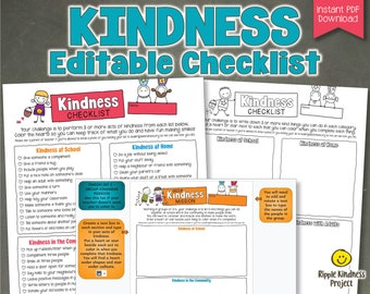 Editable Kindness Checklists for Kids - Customize in Google Slides and Print to Color