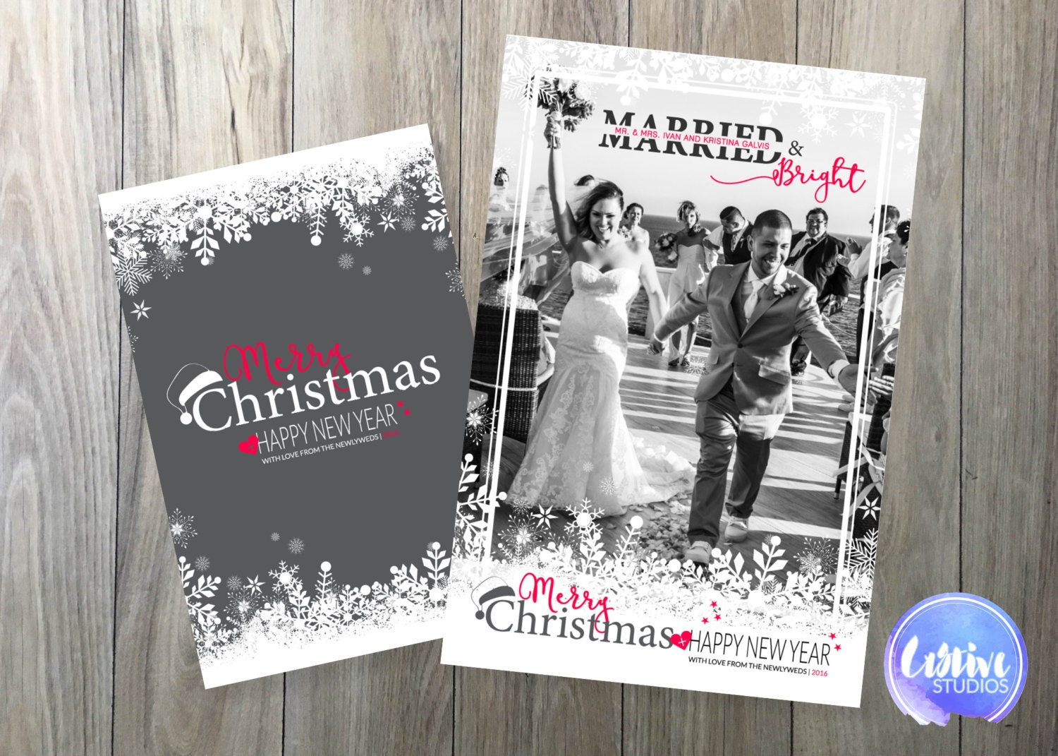 Married & Bright // Just Married Christmas Card // Photo | Etsy