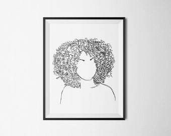 Hand Sketch Series - Natural Hair #3 - 5x7 Digital Download