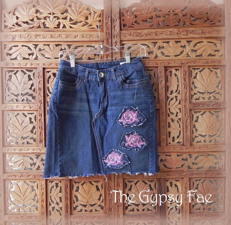c8d1eb476 Denim Short Skirt Upcycled Jean Skirt Pink Roses Gypsy Boho | Etsy