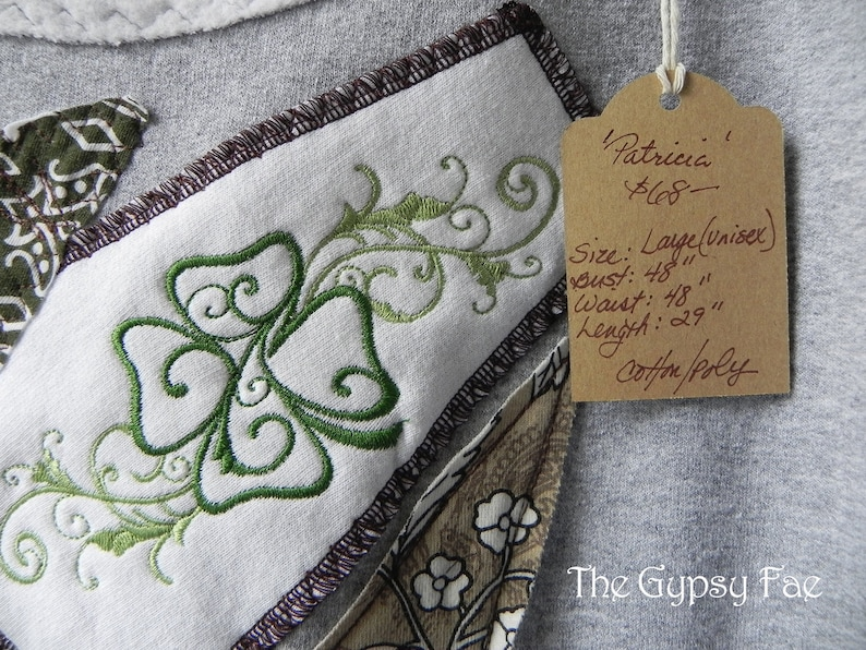 Upcycled Irish Sweatshirt Embroidered Clover Grey Patchwork Green Boho-chic Pullover Sweater Size Large /'Patricia/' by The Gypsy Fae