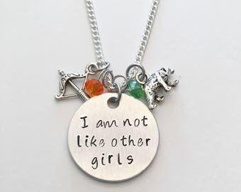 I Am Not Like Other Girls Merida Disney Princess Brave Inspired Hand Stamped Charm Necklace