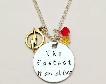 The Fastest Man Alive Flash Barry Allen Grant Gustin DC Charm Necklace