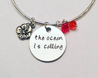 The Ocean is Calling Moana Maui Disney Inspired Stamped Adjustable Bangle Charm Bracelet