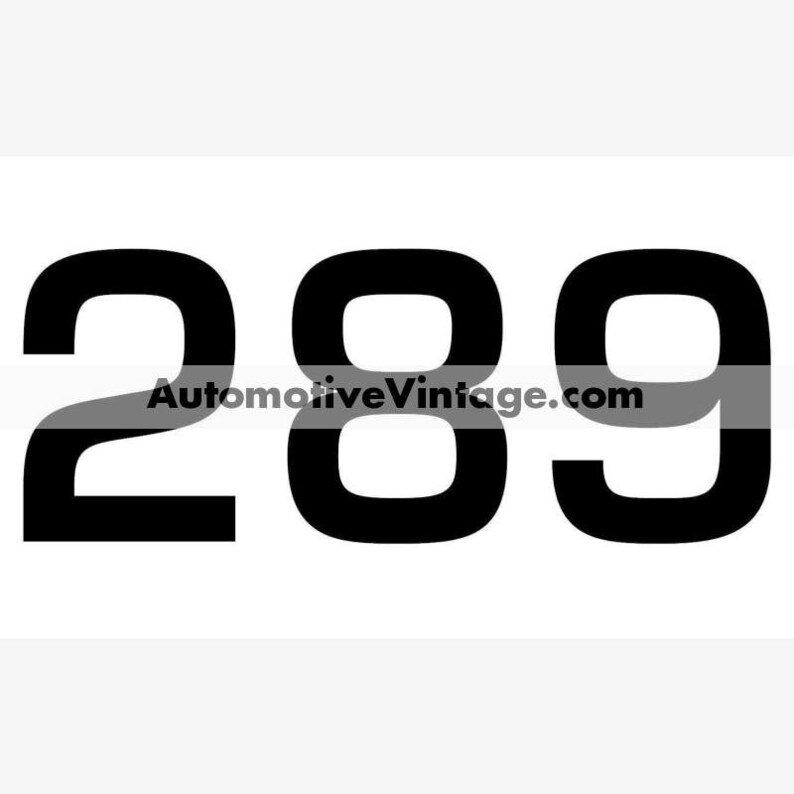 Ford 289 Engine Size Vinyl Decal Car Stickers PAIR image 0