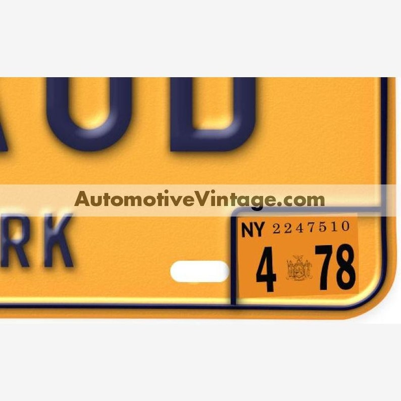New York 1978 Vintage License Plate Registration Sticker image 0