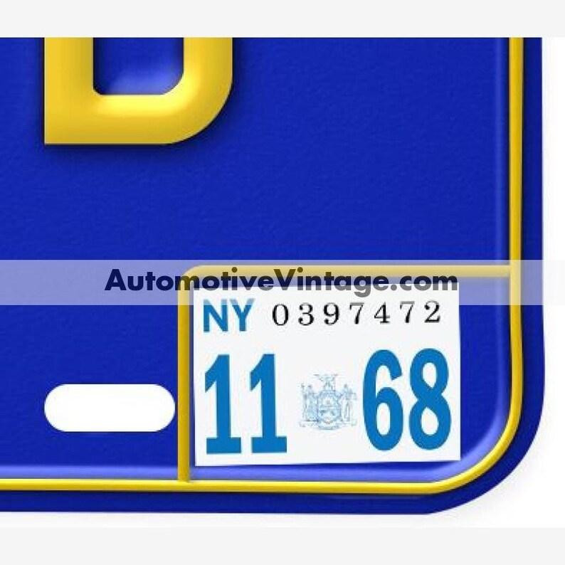 New York 1968 Vintage License Plate Registration Sticker image 0