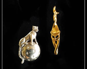 Vintage metal cat brooches, a lot of two