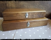 Vintage big solid wood heavy storage boxes, a set of two