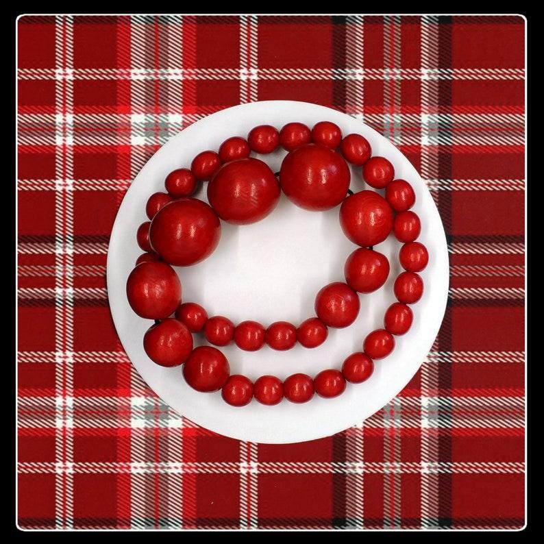 Vintage Aarikka Finland wooden beaded elastic red necklace