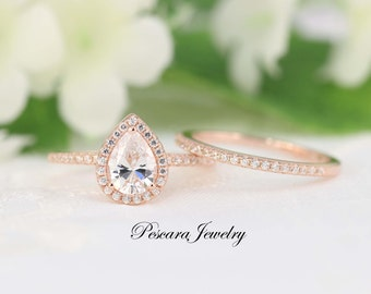 1.3ctw Rose Gold Engagement Ring, Pear Halo Wedding Ring Set - Pear Cut Ring - Pear Halo Engagement Ring. 1ct Promise CZ Ring