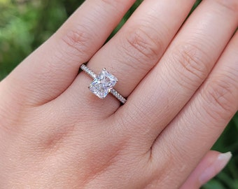 8*6 Radiant Cut Engagement Ring - 1.5ct Radiant Solitaire Ring - Radiant Promise Ring, Diamond Simulant CZ Ring, Sterling Silver