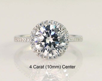 4ct Round Halo Engagement Ring, Promise Ring, Solitaire Ring Wedding Ring Sterling Silver Diamond Simulants, CZ  Size 3.5~11